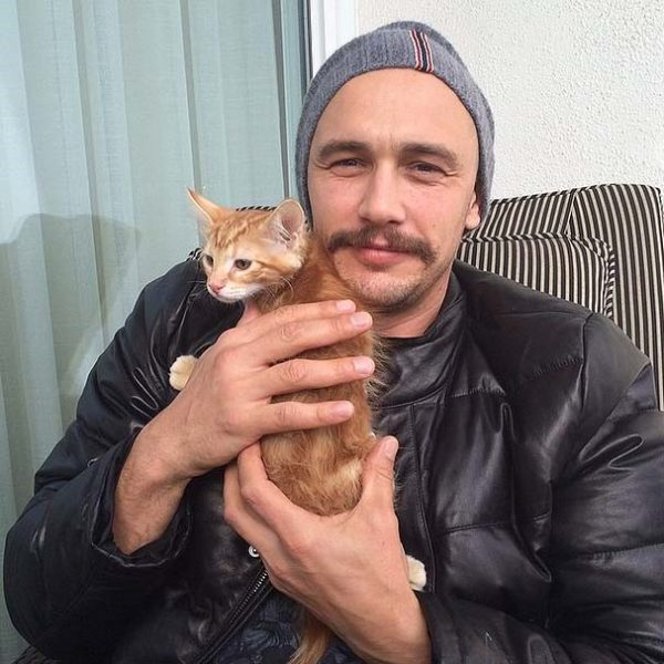 James Franco with cat