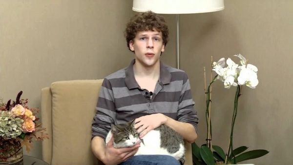 Jesse Eisenberg with cat