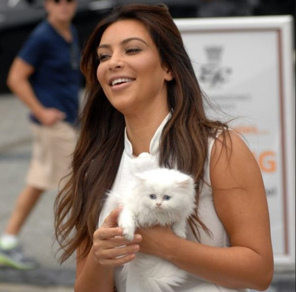 Kim Kardashian with Cat